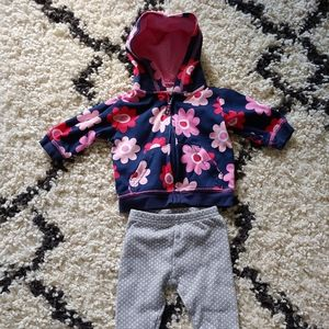 Carter's Navy and Pink Flower Jacket and Pants